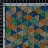 Blue And Orange Geometrical Pattern Screen Print Viscose Rayon Fabric