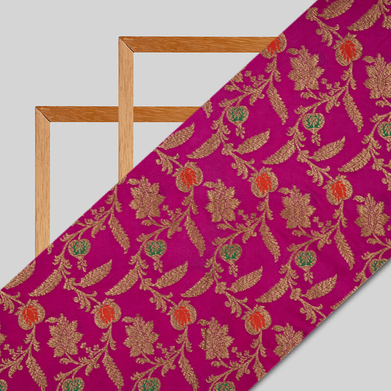 Magenta Leaf And Floral Pattern Katan Zari Jacquard Fabric