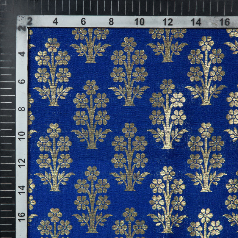 Royal Blue Banarasi Mughal Floral Pattern Katan Zari Silk Fabric