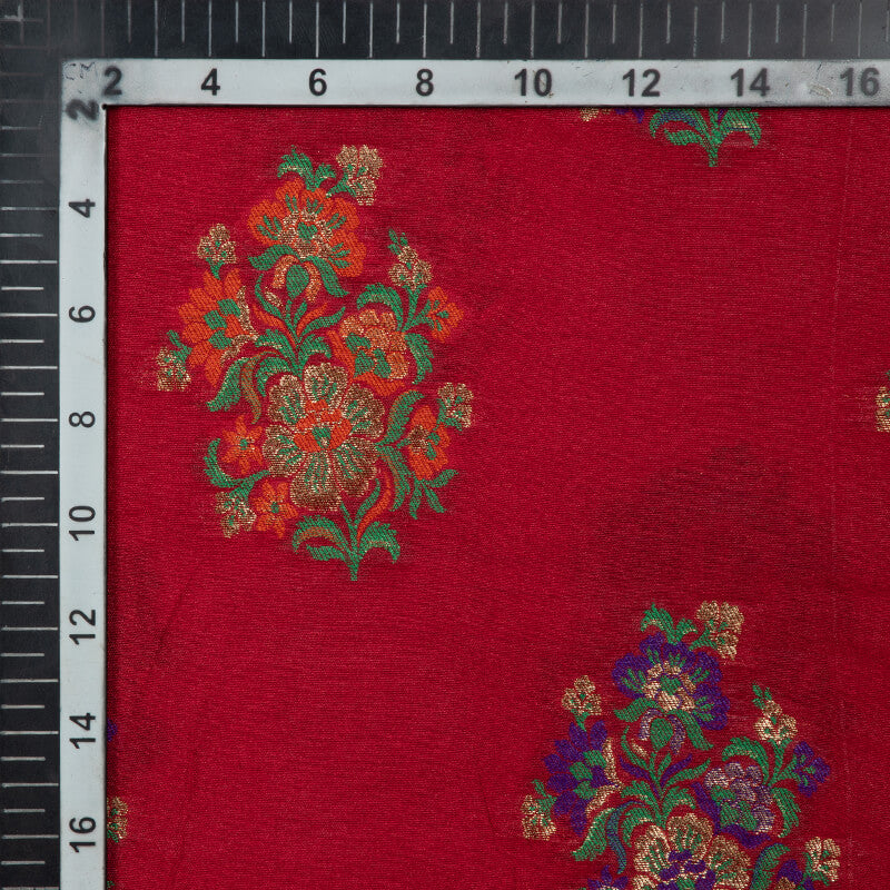 Red Banarasi Floral Pattern Taffeta Zari Silk Fabric
