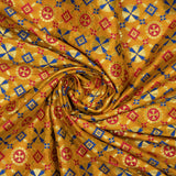 Yellow Ochre Banarasi Geometric Pattern Katan Zari Silk Fabric