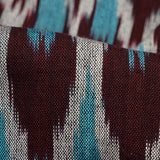 Maroon And Blue Trellies Pattern Woven Pre-Washed Cotton Ikat Fabric