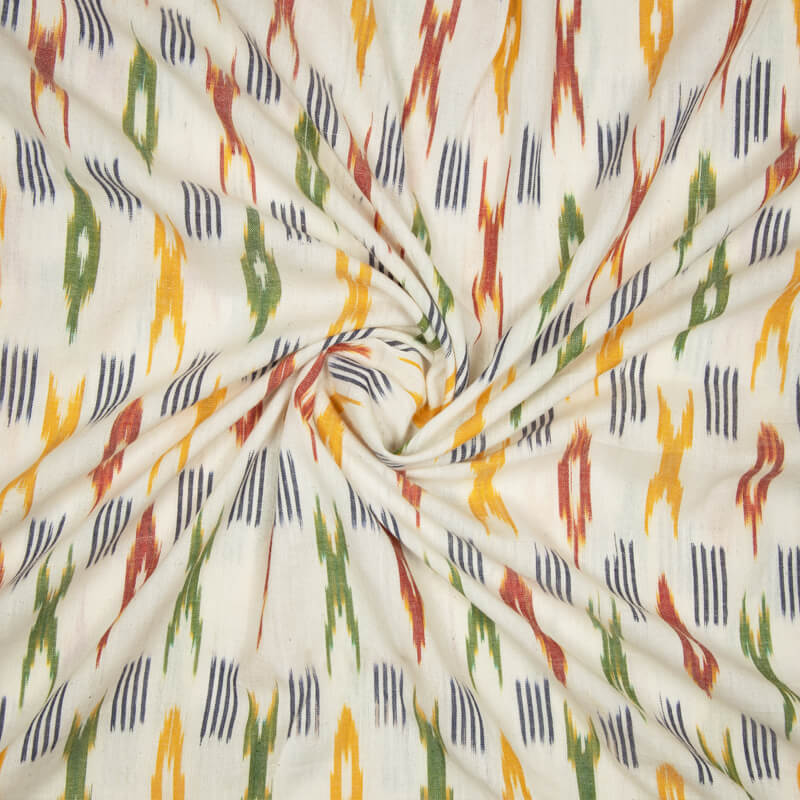 White And Green Trellies Pattern Woven Pre-Washed Cotton Ikat Fabric