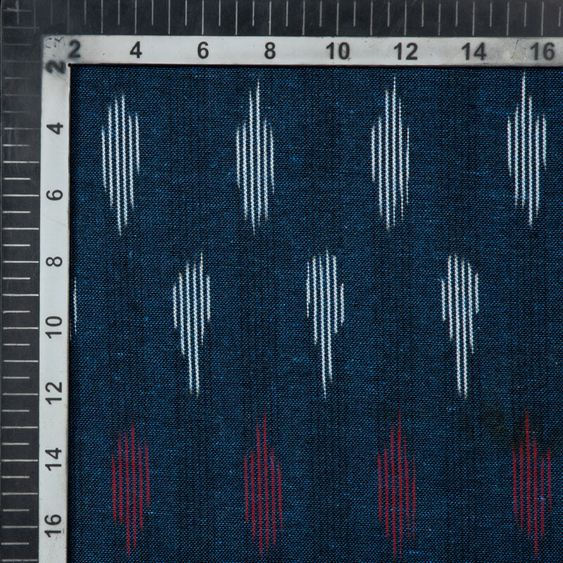 Navy Blue Stripes Pattern Woven Pre-Washed Cotton Ikat Fabric