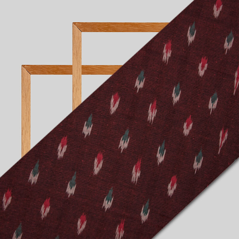 Maroon Abstract Pattern Woven Pre-Washed Cotton Ikat Fabric