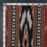 Black And Maroon Abstract Pattern Woven Pre-Washed Dobby Cotton Ikat Fabric