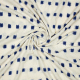 White And Blue Geometric Pattern Woven Pre-Washed Double Ikat Cotton Fabric