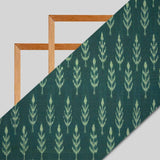 Green Tree Pattern Woven Pre-Washed Mercerized Cotton Ikat Fabric