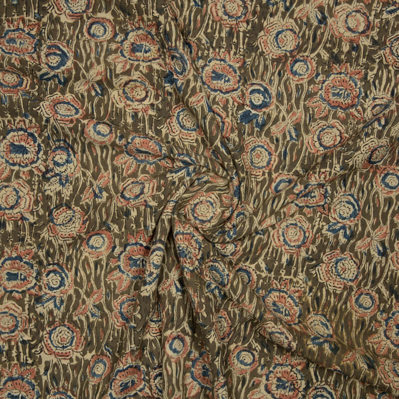 Mehendi Green Kalamkari Print Handlock Cotton Fabric