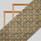 Beige And Light Olive Kalamkari Print Handlock Cotton Fabric