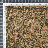 Olive And Peach Kalamkari Print Handlock Cotton Fabric