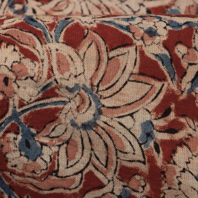 Red And Beige Kalamkari Print Handblock Cotton Fabric