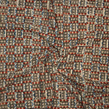 Red And Blue Geometrical Pattern Kalamkari Print Handblock Cotton Fabric