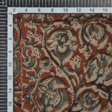 Tomato Red And Beige Kalamkari Print Handblock Cotton Fabric