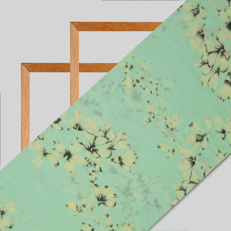 Pastel Green Floral Pattern Silk Fabric
