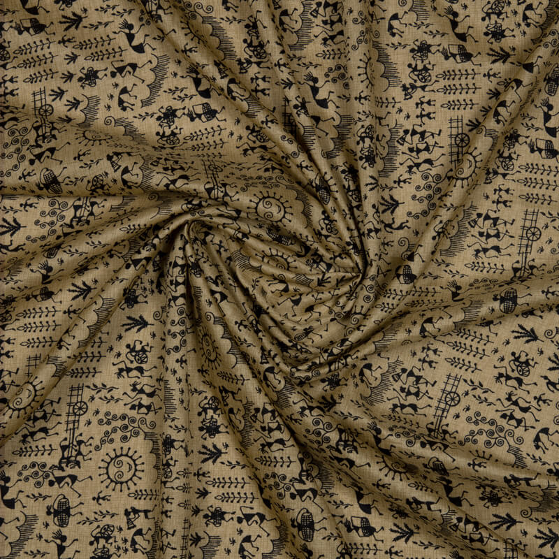 (Pre-Cut 2 Meter) Beige Tribal Pattern Art Silk Lustrous Fabric