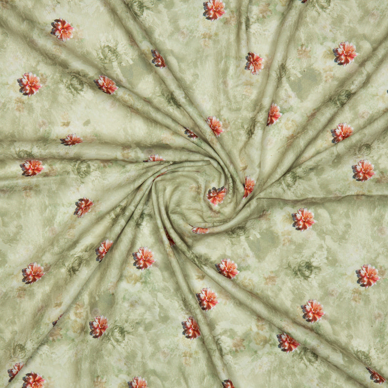 Olive And Pink Floral Digital Print American Crepe Fabric - Fabcurate