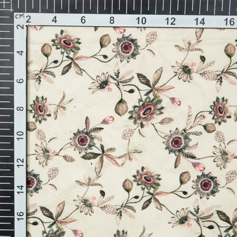 Light Beige Floral Digital Print American Crepe Fabric - Fabcurate