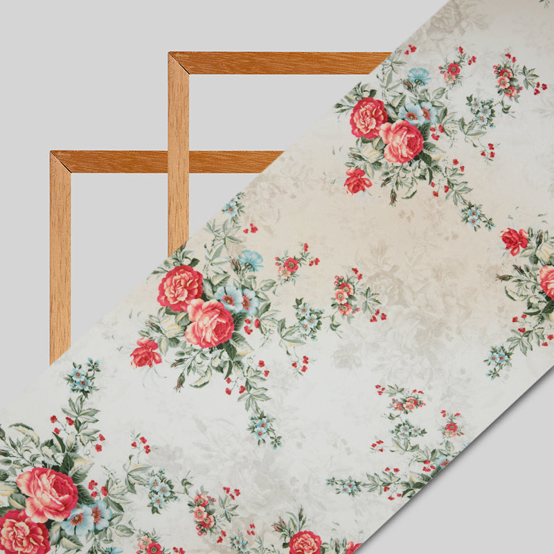 Light Beige And Red Floral Digital Print American Crepe Fabric