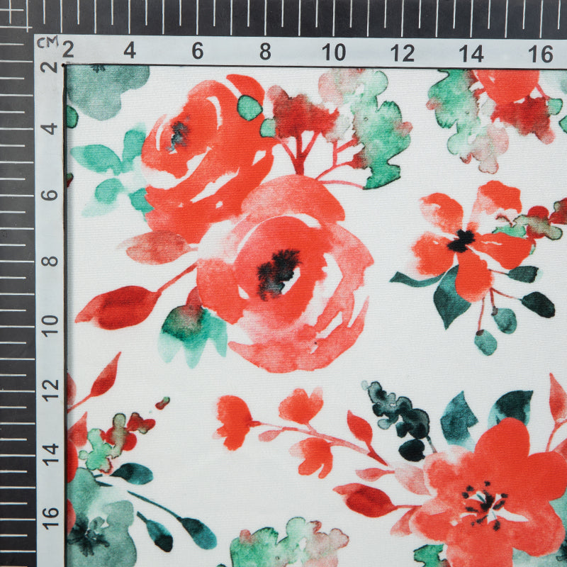 White And Red Floral Digital Print American Crepe Fabric