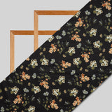 Black And Peach Floral Digital Print American Crepe Fabric - Fabcurate