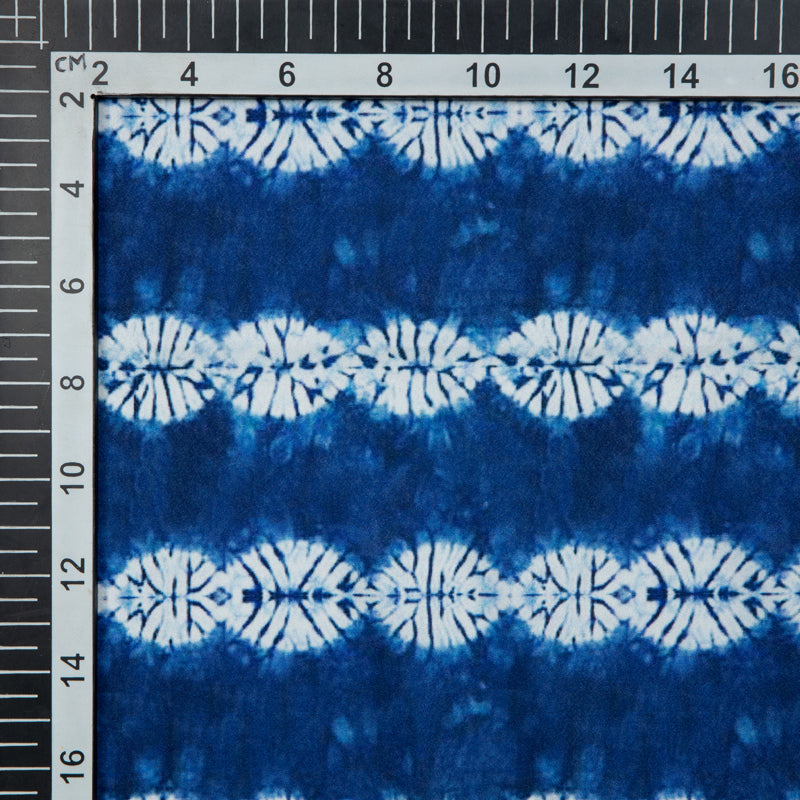 Royal Blue And White Shibori Digital Print American Crepe Fabric