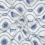Royal Blue Object Digital Print American Crepe Fabric