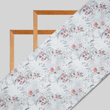 Light Grey Floral Digital Print Chanderi Fabric