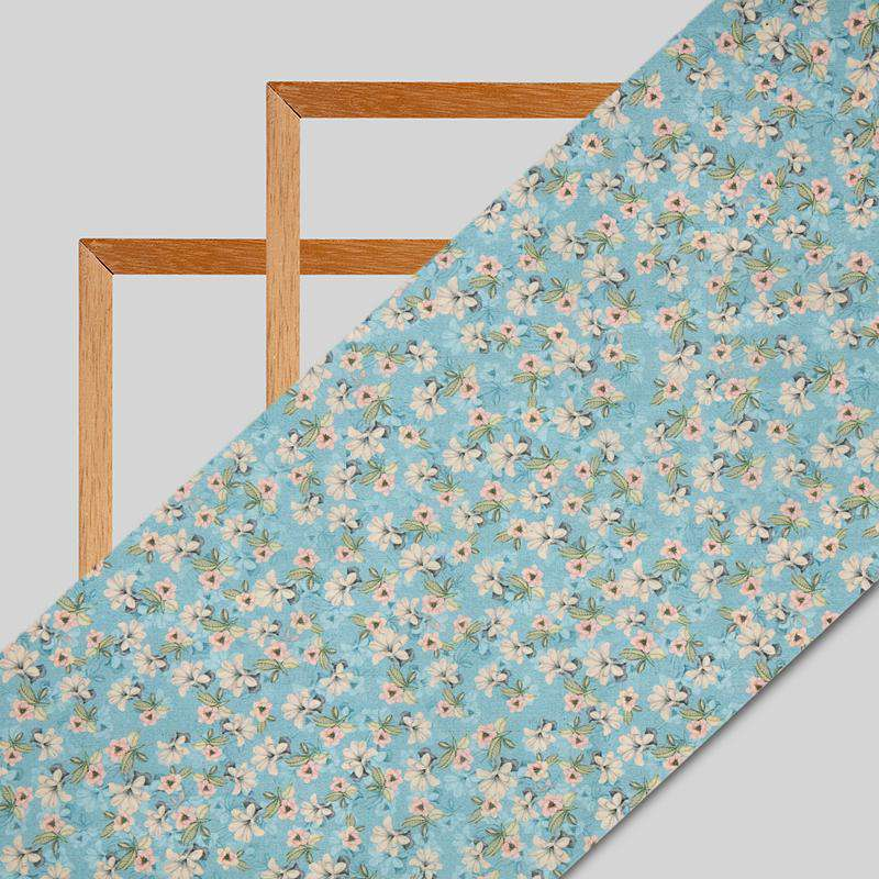 Pastel Blue Floral Digital Print Chanderi Fabric
