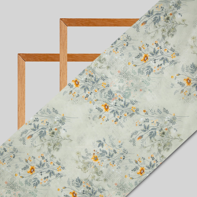 Beige Floral Digital Print Chanderi Fabric - Fabcurate