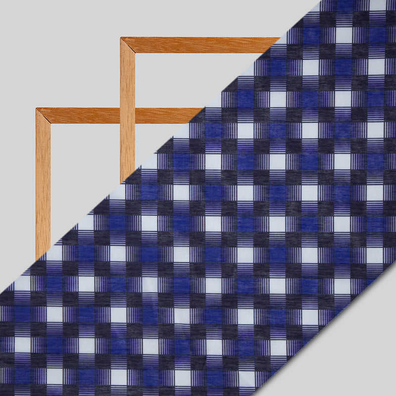 Royal Blue Checks Digital Print Chanderi Fabric - Fabcurate
