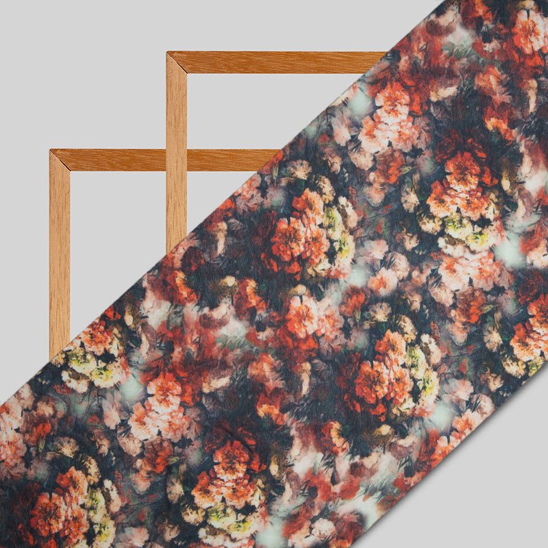 Black And Brown Floral Digital Print Georgette Fabric