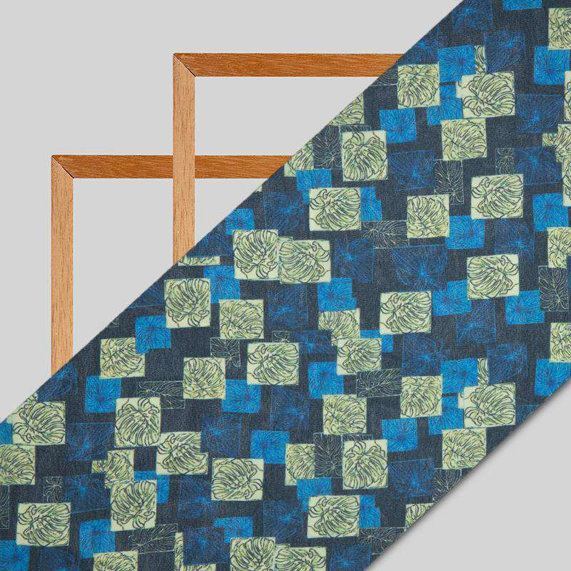 Royal Blue Geometrical Digital Print Georgette Fabric