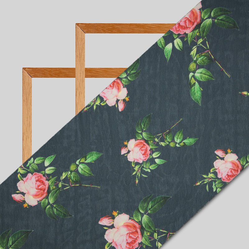 Dark Grey And Pink Floral  Digital Print Georgette Fabric
