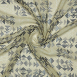 Beige Geometric Digital Print Georgette Fabric