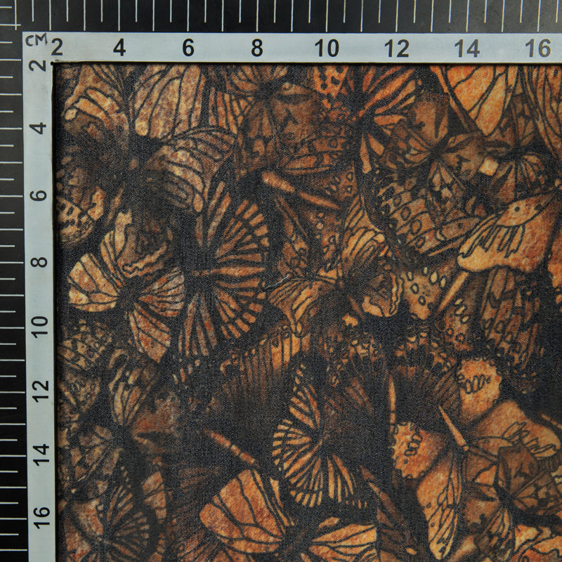 Black And Beige Butterfly Digital Print Georgette Fabric