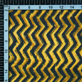 Yellow And Black Zig-Zag Digital Print Georgette Fabric - Fabcurate
