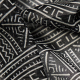 Off White And Black Geometric Digital Print Georgette Fabric