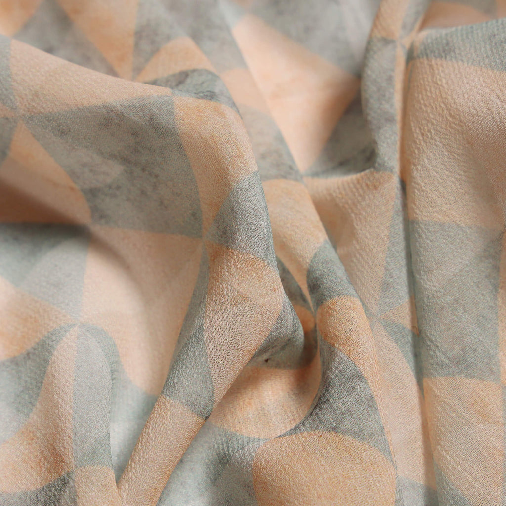 Pastel Blue And Peach Geometric Digital Print Georgette Fabric