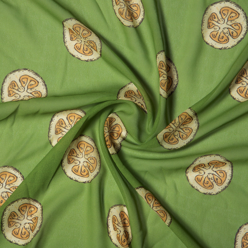Green Object Digital Print Georgette Fabric - Fabcurate