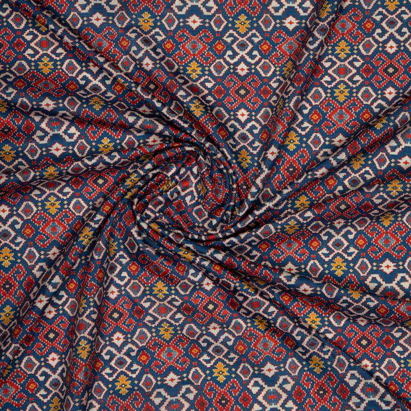 Red Ethnic Digital Print Muslin Fabric