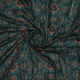 Dark Green Ethnic Digital Print Muslin Fabric