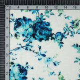 White Floral Digital Print Muslin Fabric