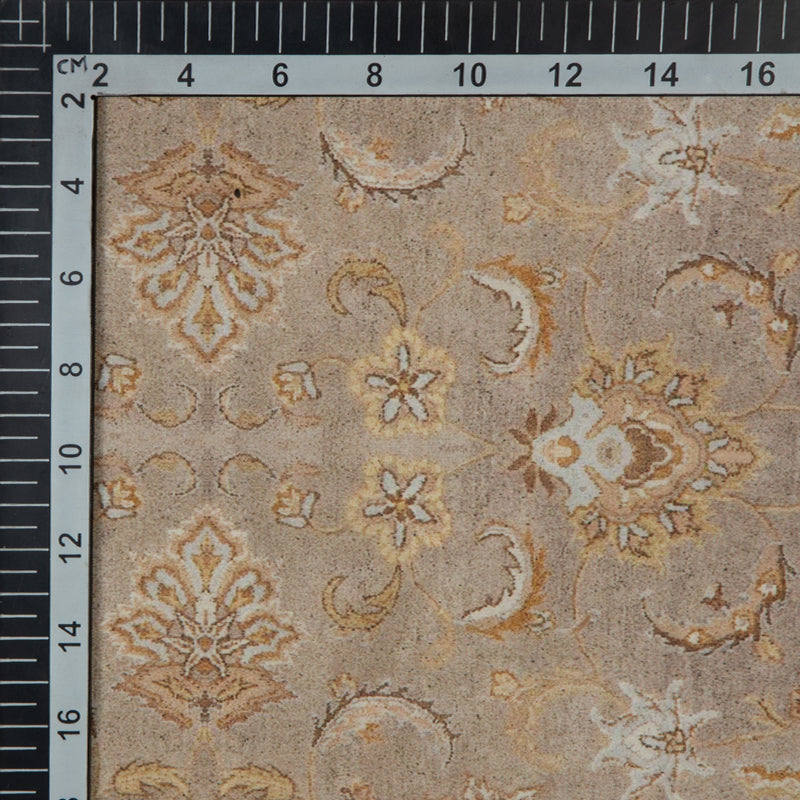 Beige Ethnic Digital Print Muslin Fabric