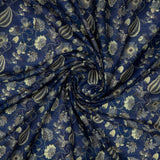 Royal Blue Ethnic Digital Print Muslin Fabric