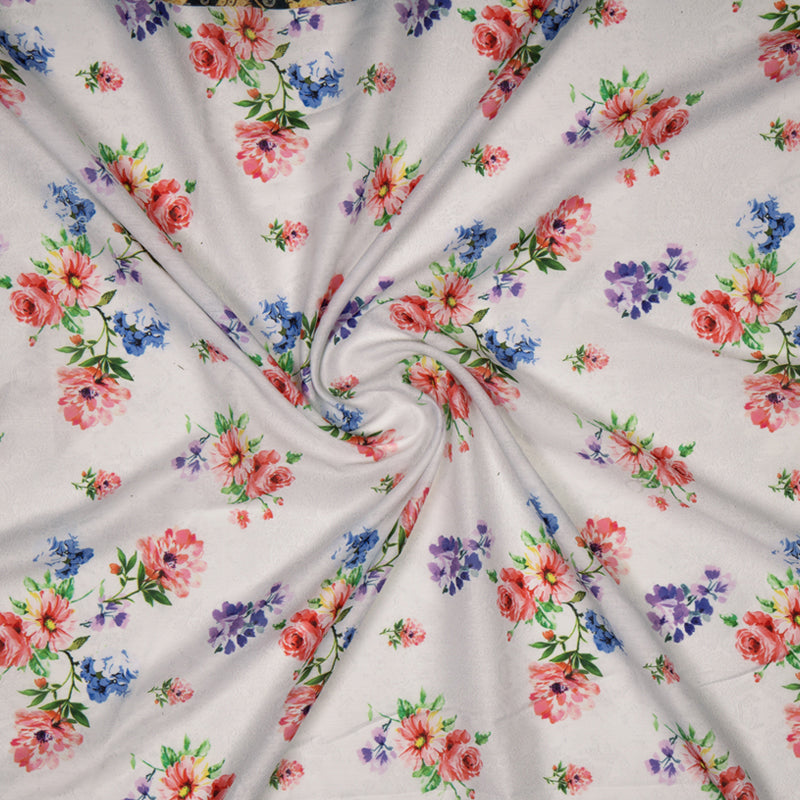 Red And Blue Floral Digital Print Muslin Fabric
