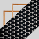 White And Black Ethnic Digital Print Muslin Fabric