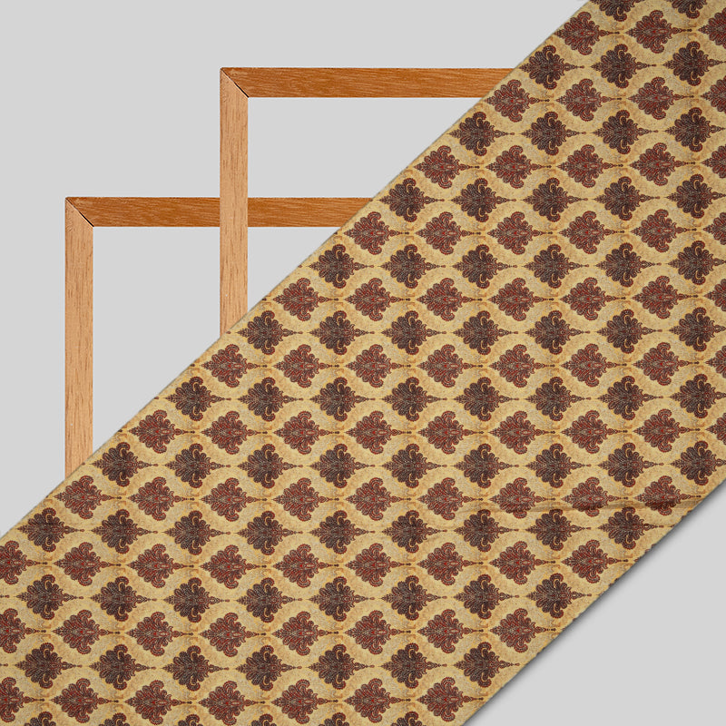 Light Brown Ethnic Digital Print Muslin Fabric - Fabcurate