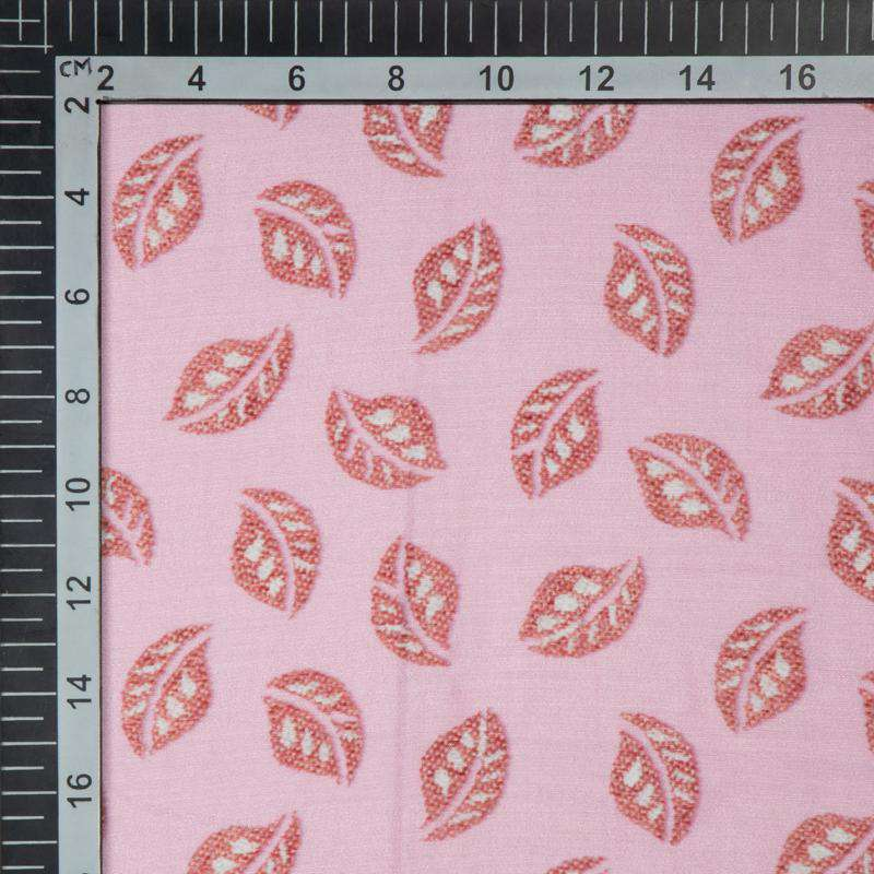 Pastel Pink Leaf Digital Print Muslin Fabric - Fabcurate
