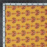 Yellow Floral Digital Print Muslin Fabric